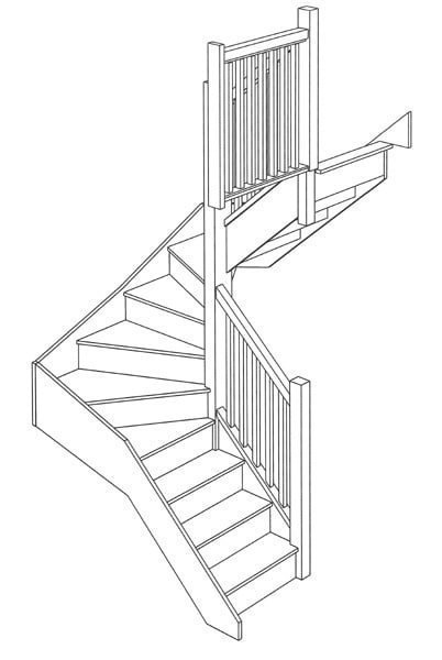 3d Staircase Drawing 3d Drawing · Double Landing