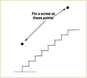 install wall handrails - fix a screw at these points