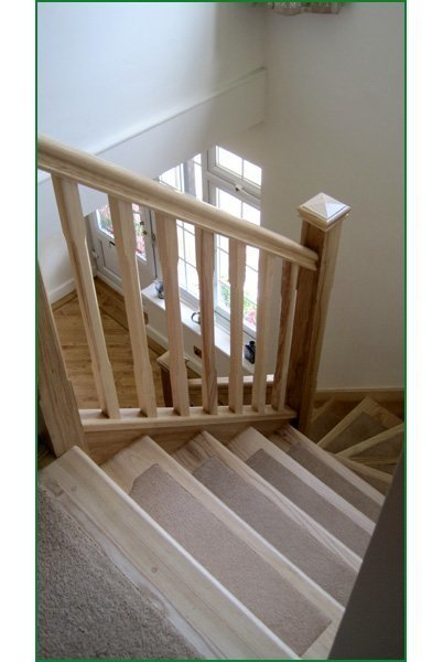 Open Log Stairs: Open Riser Ash Staircase