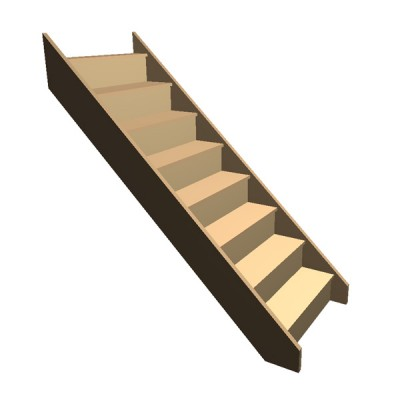 Flat Pack - Timber Staircase Straight Flight - 8 Riser Step (FFL 1600cm) Closed String