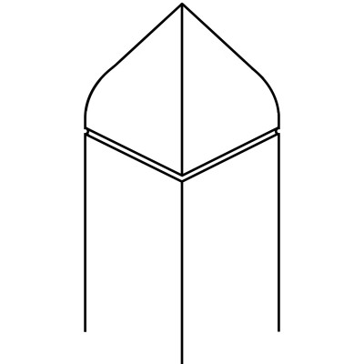 Bishop Hat with Single Kerf - 90 x 90 PSTSC Stop Chamfered Newel Post Square [Design 8]
