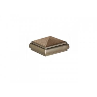 Metal Pyramid Newel Cap - Oak/Brushed Nickel 94 x 94mm