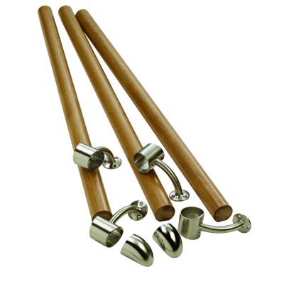 Richard Burbidge KIT02 Fusion Boxed Handrail Kit - White Oak with Brushed Nickel Connectors - Kit02