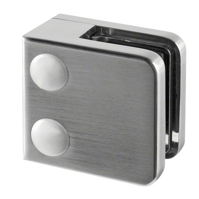 Q-Railing - Glass clamp, MOD 21, excl. rubber inlay, flat, zamak, stainless steel effect [PK4]- [10210000019]