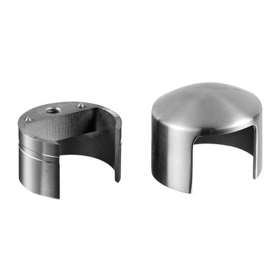 Q-Railing - Arched end cap, incl. 1 adapter, wooden cap rail, Dia 42 mm, stainl. steel 304 interior, satin [PK2]