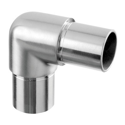 Q-Railing - Flush elbow, 90 degree, rounded, tube Dia 33.7 mm x 2 mm, stainless steel 304 interior, satin [PK2]