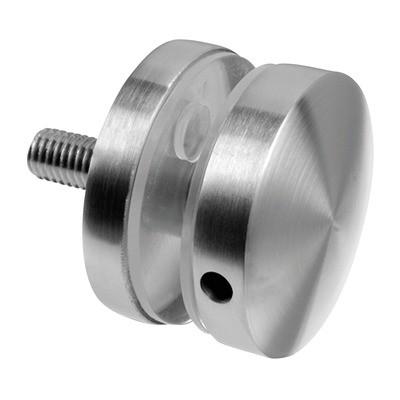 Q-Railing - Glass adapter, Dia 50 mm, flat, M10 thread, 8 - 17.52 mm glass, stainless steel 304 interior, satin MOD 0747 [PK2]