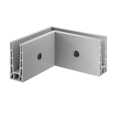 Q-Railing - Base shoe corner, Easy Glass Pro, fascia mount, inner corner, aluminium, st. steel effect, anod.