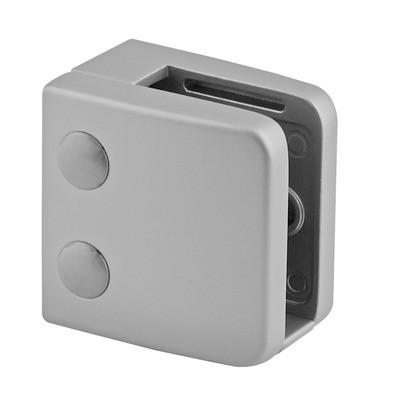 Q-Railing - Glass clamp, MOD 26, excl. rubber inlay, flat, zamak, aluminium RAL 9006 [PK4]