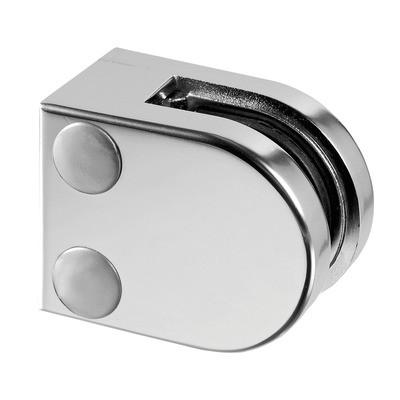 Q-Railing - Glass clamp, MOD 20, excl. rubber inlay, flat, zamak, matt chrome [PK4]- [10200000016]