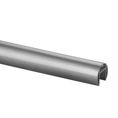 Q-Railing - Cap rail, Dia 42.4 mm x 1.5 mm, L=2500 mm, U=24 mm x 24 mm, aluminium, stainless steel effect - [16692504218]