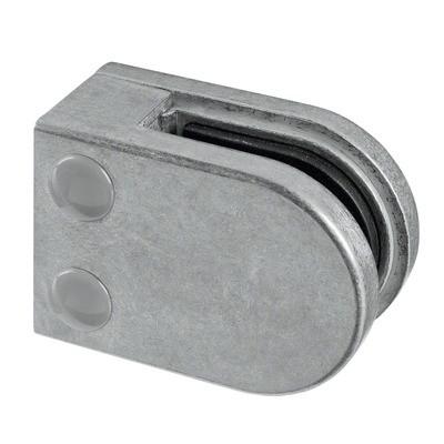 Q-Railing - Glass clamp, MOD 22, excl. rubber inlay, flat, zamak, raw [PK4]- [10220000000]