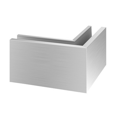 Q-Railing - Base shoe corner, Easy Glass Pro, top mount, outer corner, aluminium, st. steel effect, anod.