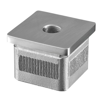 Q-Railing - Flat end cap, Square Line, Easy Hit, M10 thread, tube 40x40x2 mm, stainless steel 304 interior, satin [PK2]