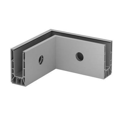 Q-Railing - Base shoe corner, Easy Glass Smart, fascia mount, inner corner, aluminium, raw