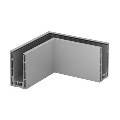 Q-Railing - Base shoe corner, Easy Glass Smart, top mount, inner & outer corner, aluminium, raw