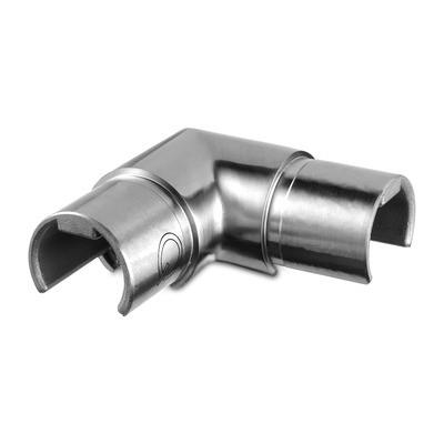 Q-Railing - Flush elbow, 90 degree, horizontal, glass frame tube, Dia 30 mm, stainl. steel 304 interior, satin [PK2]