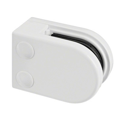 Q-Railing - Glass clamp, MOD 22, excl. rubber inlay, flat, zamak, white RAL 9016 [PK4]- [10220000032]