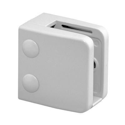 Q-Railing - Glass clamp, MOD 26, excl. rubber inlay, flat, zamak, white RAL 9016 [PK4]