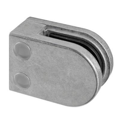 Q-Railing - Glass clamp, MOD 22, excl. rubber inlay, flat, zamak, aluminium RAL 9006 [PK4]- [10220000036]