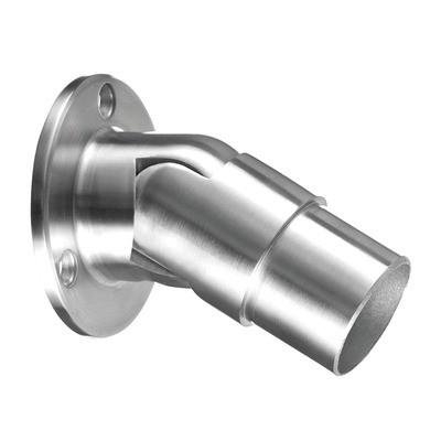 Q-Railing - Wall flange, variable, (0 degree-50 degree), tube Dia 42.4 mm x 2 mm, stainless steel 304 interior, satin [PK2]- [13050624212]