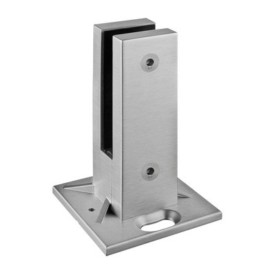 Q-Railing - Easy Glass, base glass clamp, MOD 62, excl. rubber inlay, stainless steel 316 exterior, satin - [14620000012] 146200-12
