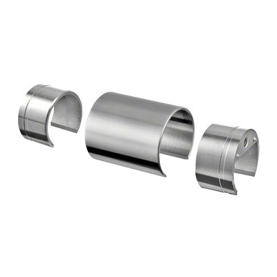 Q-Railing - Connector, incl. 2 adapter, wooden cap rail Dia 42 mm, stainless steel 304 interior, satin [PK2]