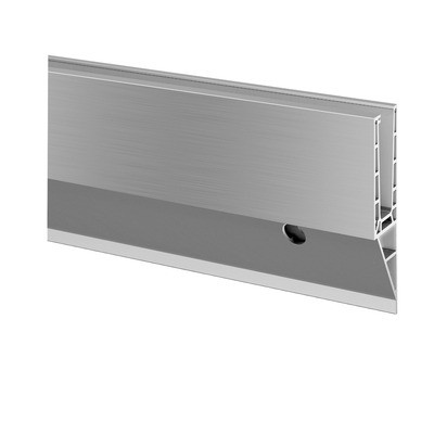 Q-Railing - Easy Glass Pro Y, base shoe, fascia mount, L=5000 mm, aluminium, st. steel effect, anod. 25 micrometre