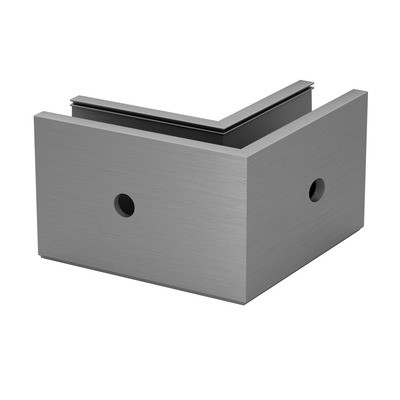 Q-Railing - Base shoe corner, Easy Glass Prime, fascia mount,outer corner, brushed aluminium, anodized - [16631606118]