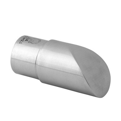 Q-Railing - Slanted end cap for cap rail, for staircase, Dia 42.4 mm x 1.5 mm, stainless steel 316 exterior, satin [PK2]- [14673804212]