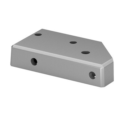 Q-Railing - Corner base flange for post profile, Easy Alu,right, aluminium, mill finish