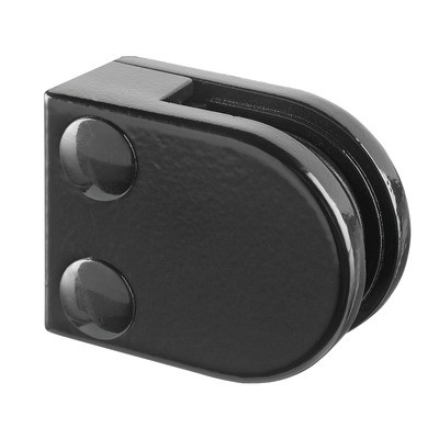 Q-Railing - Glass clamp, MOD 20, excl. rubber inlay, flat, zamak, black RAL 9005 [PK4]