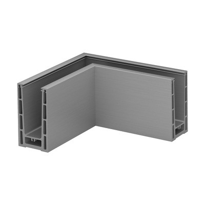 Q-Railing - Base shoe corner, Easy Glass Prime, top mount,inner & outer corner, brushed aluminium, anodized - [16631306018]