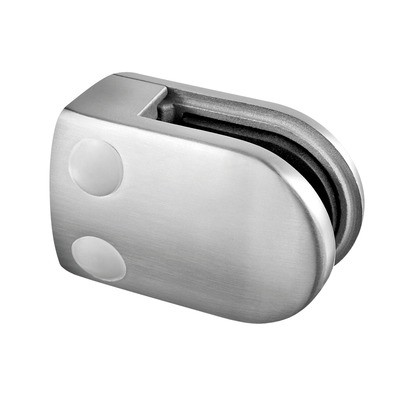 Q-Railing - Glass clamp, MOD 28, excl. rubber inlay, flat, stainless steel 304 interior, satin [PK4]- [13280000012]