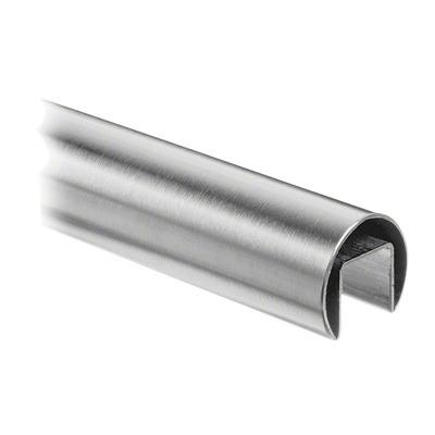 Q-Railing - Cap rail, Dia 48.3 mm x 1.5 mm, L=5000 mm, U=27 mm x 30 mm, stainless steel 304 interior, satin