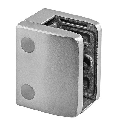 Q-Railing - Glass clamp, MOD 23, excl. rubber inlay, flat, stainless steel 316 exterior, satin [PK4]