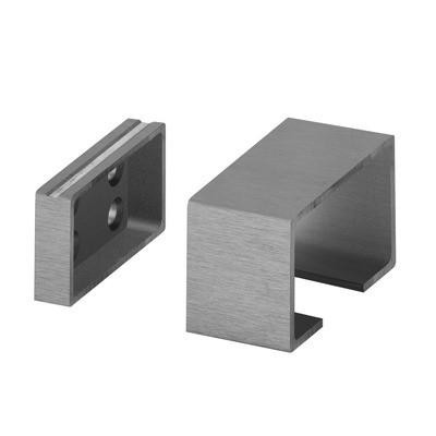 Q-Railing - Wall flange for aluminium cap rail, 65x40 mm, aluminium, stainless steel effect IX [PK2]