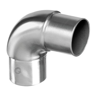 Q-Railing - Flush elbow, 90 degree, curved, tube Dia 42.4 mm x 2 mm, stainless steel 316 exterior, satin [PK2]- [14030524212]