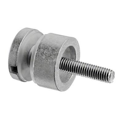 Q-Railing - Glass adapter, Dia 30 mm, flat, M8 thread, 6 - 17.52 mm glass, zamak, raw MOD 0746[PK4]