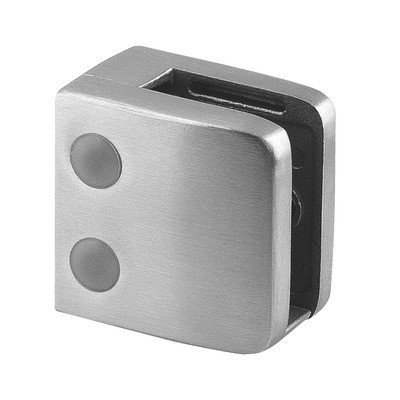 Q-Railing - Glass clamp, MOD 26, excl. rubber inlay, flat, stainless steel 316 exterior, satin [PK4]