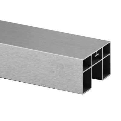 Q-Railing - Cap rail, rectangular, 65x40x1.5mm, L=5000 mm, U=24 x 24 mm, aluminium, stainless steel effect IX