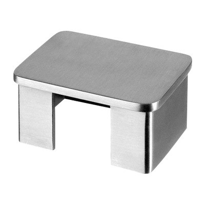Q-Railing - Flat end cap for cap rail, rectangular, 60x40x1.5 mm, stainless steel 316 exterior, satin [PK2]- [14673264012] 146734-640-12