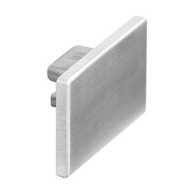 Q-Railing - Flat end cap for aluminium cap rail, Easy Hit, 65x40x1.5 mm, aluminium, stainless steel effect IX [PK2]- [16673265409]