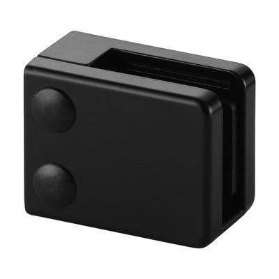Q-Railing - Glass clamp, MOD 42, excl. rubber inlay, flat, zamak, black RAL 9005 [PK4]