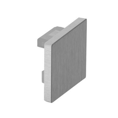 Q-Railing - Flat end cap for cap rail, Easy Hit, square, 40x40x1.5 mm, aluminium, stainless steel effect [PK2]- [16673204018]