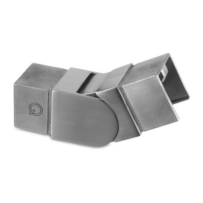 Q-Railing - Adjustable flush angle, (25 degree-55 degree), upwards, cap rail, 40x40x1.5 mm, stainless steel 316 exterior, satin [PK2]