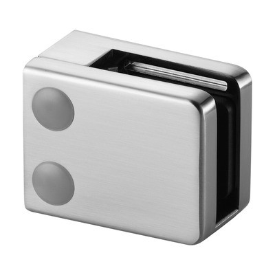 Q-Railing - Glass clamp, MOD 42, excl. rubber inlay, flat, zamak, stainless steel effect [PK4]- [10420000019]