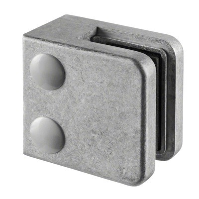 Q-Railing - Glass clamp, MOD 21, excl. rubber inlay, flat, zamak, raw [PK4]- [10210000000]
