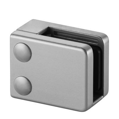Q-Railing - Glass clamp, MOD 42, excl. rubber inlay, flat, zamak, aluminium RAL 9006 [PK4]- [10420000036]