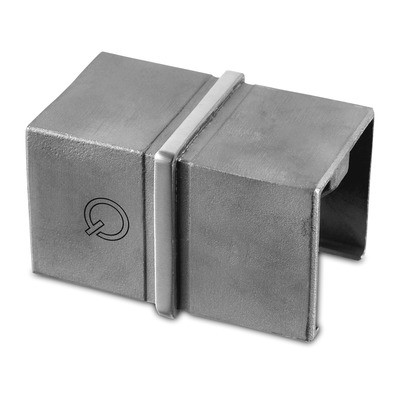 Q-Railing - Tube connector, square, cap rail, 40x40x1.5 mm, stainless steel 316 exterior, satin [PK2]